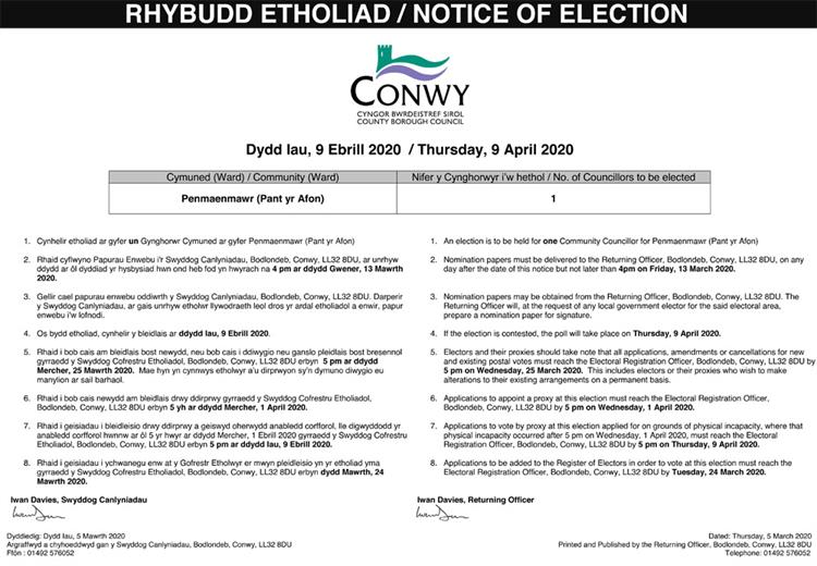 Notice of Election - Pant-yr-Afon Ward